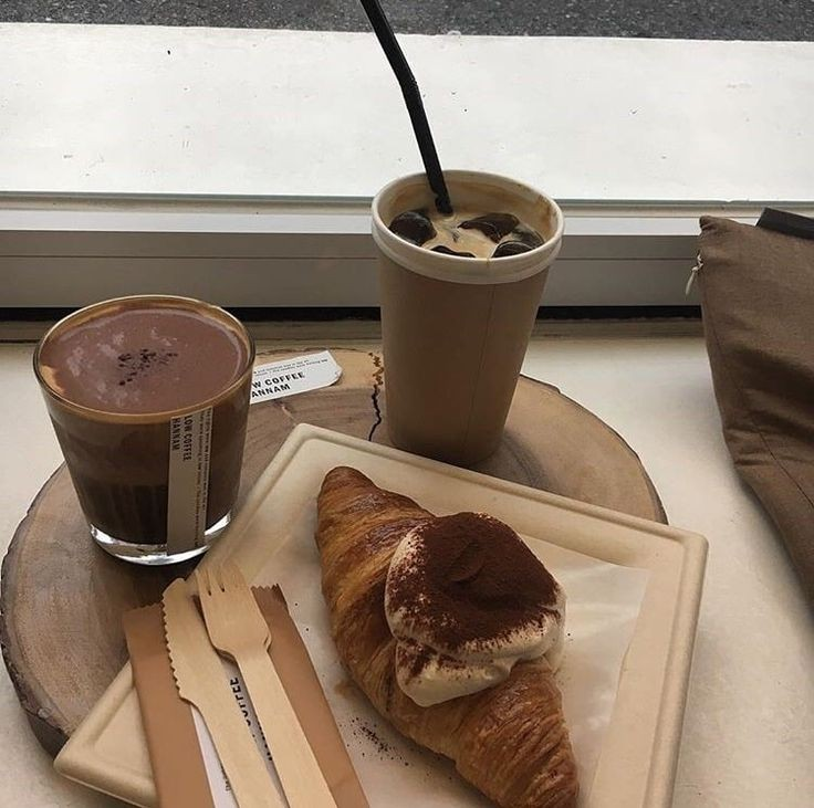 cafe, chocolate, coffee and croissant