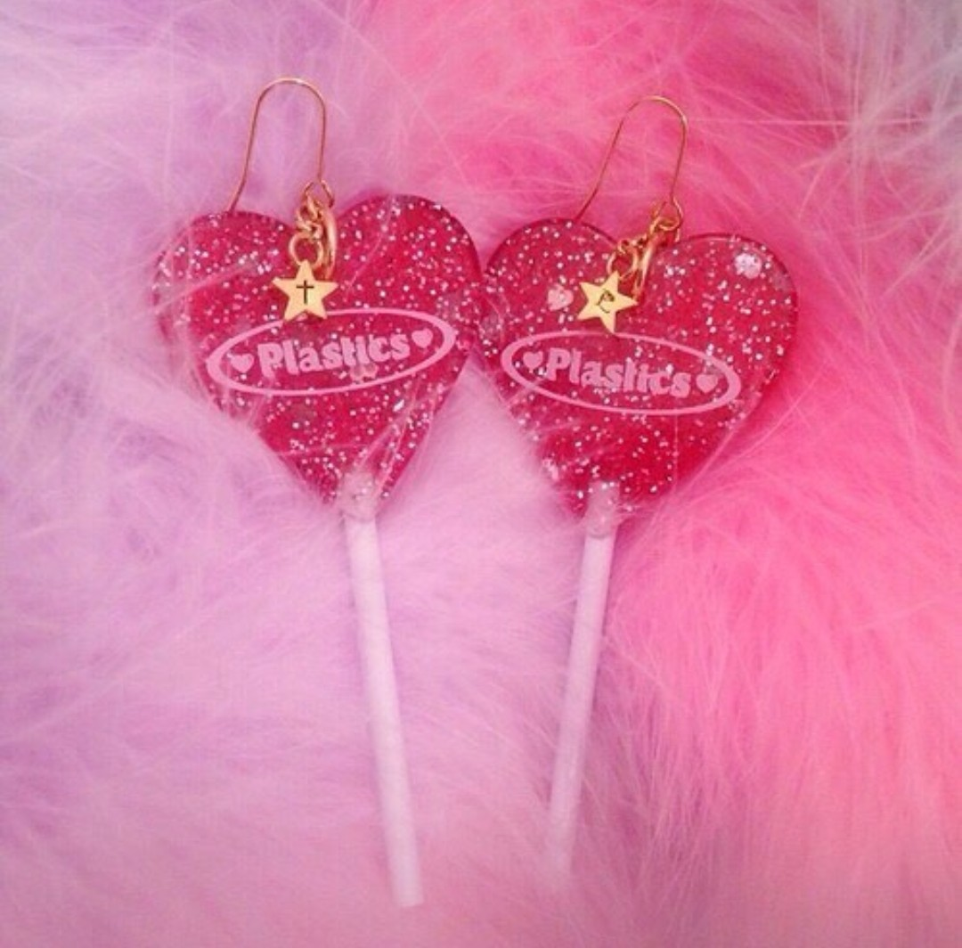 earrings, glitter, pastel and pink