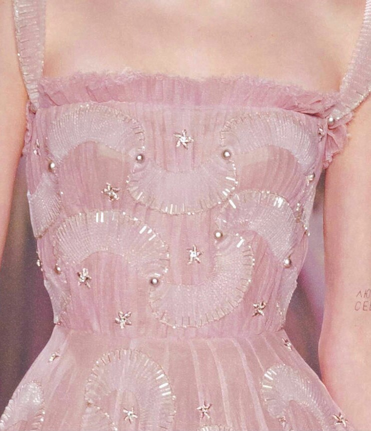 dress, girl, pink and pearl