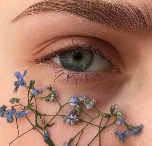 girl, eyes, flowers and plants