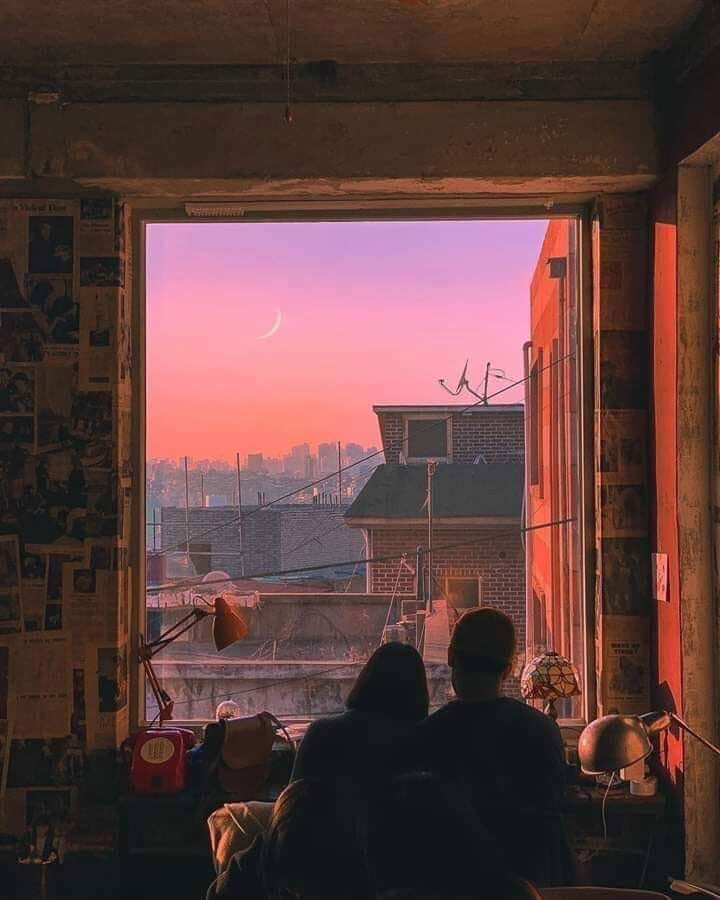 sunset, room, sky and love