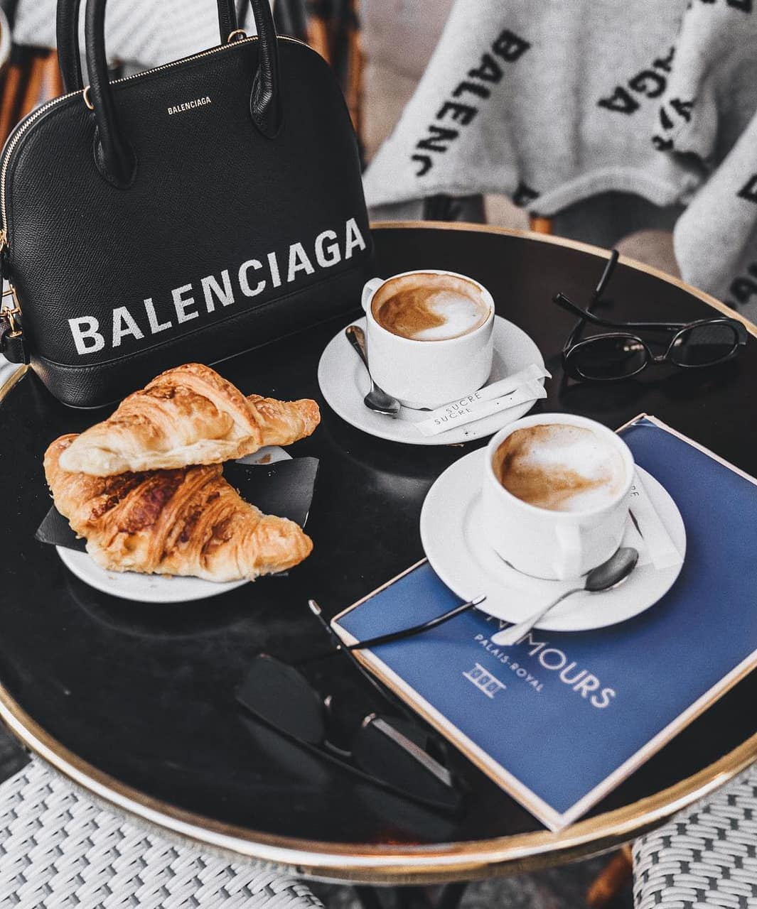 croissants, food, cappucino and bag