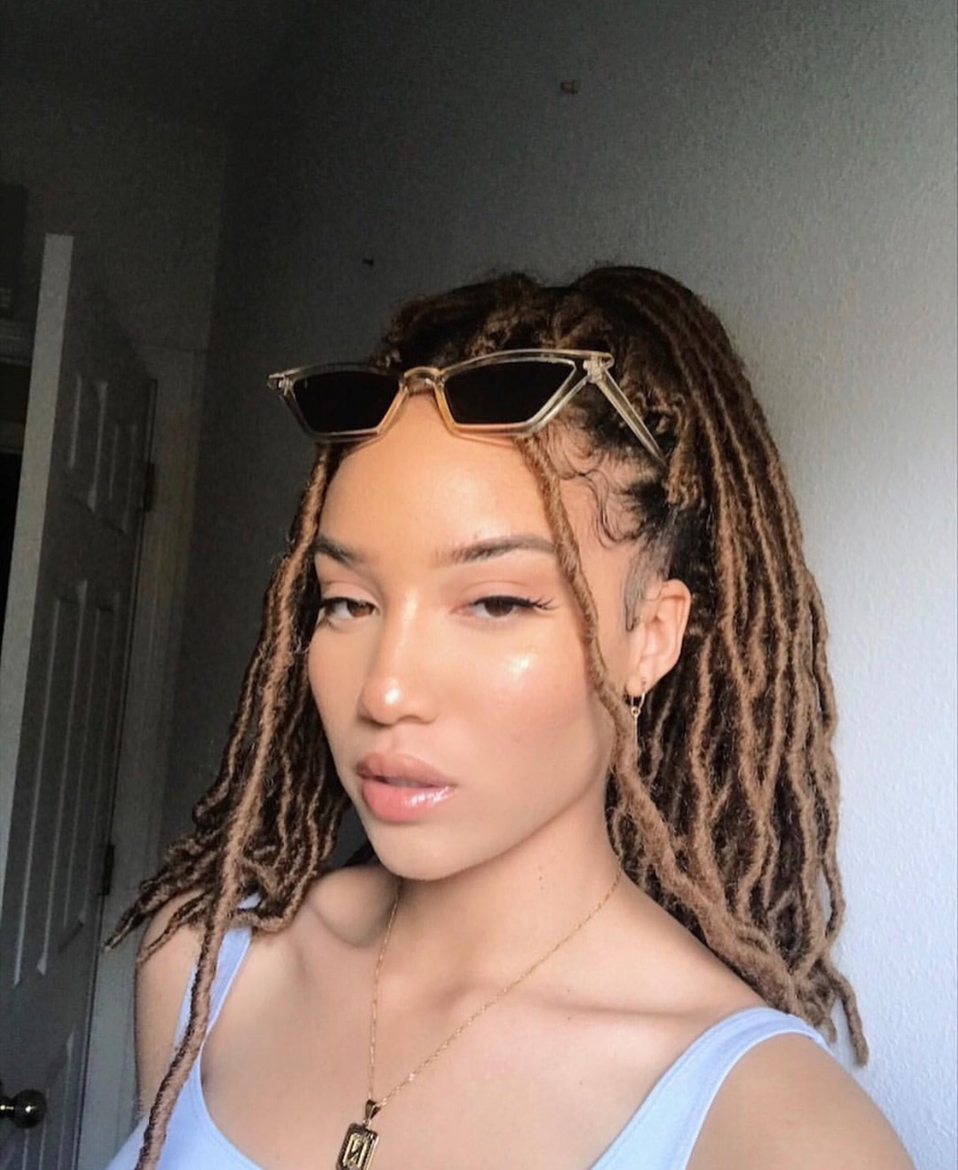 clear skin, braids, sunglasses and lipgloss
