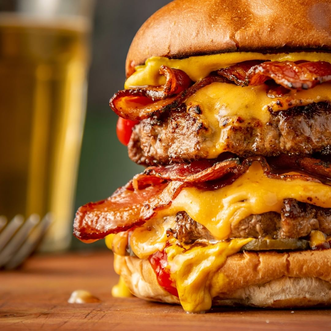 food, cheese, bacon and burger