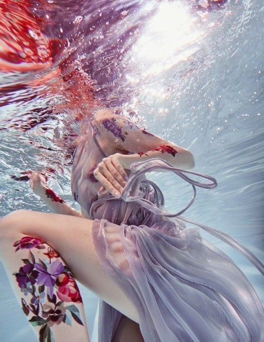 violet, aesthetic, underwater and tatto