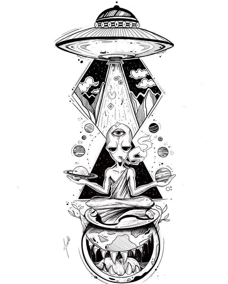 ufo, drawing, planets and earth