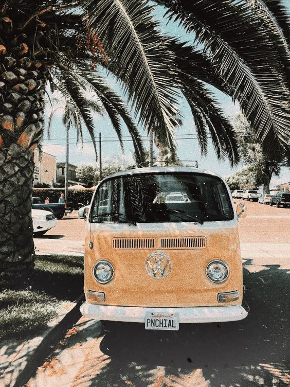 kombi, summer, faded and yellow