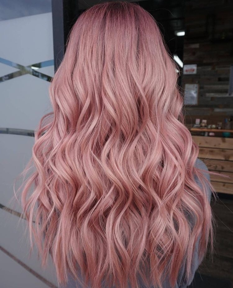 pink hair, light pink, long and blonde