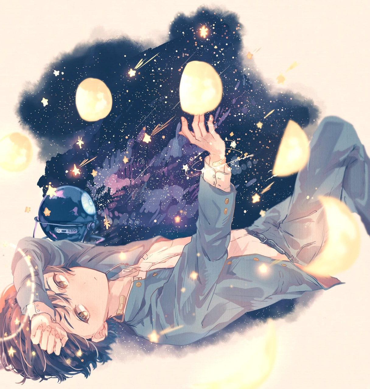 boy, galaxy, art and moon
