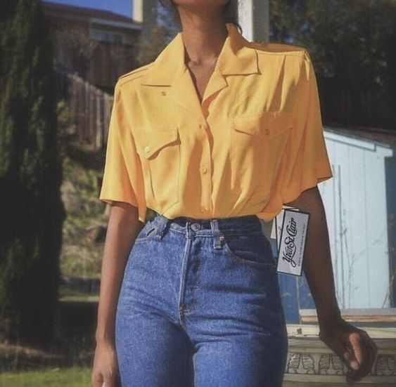 yellow, girl, fashion and jeans