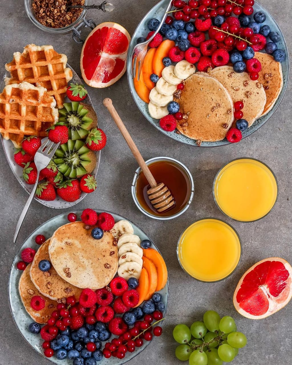 breakfast, waffles, pancakes and healthy