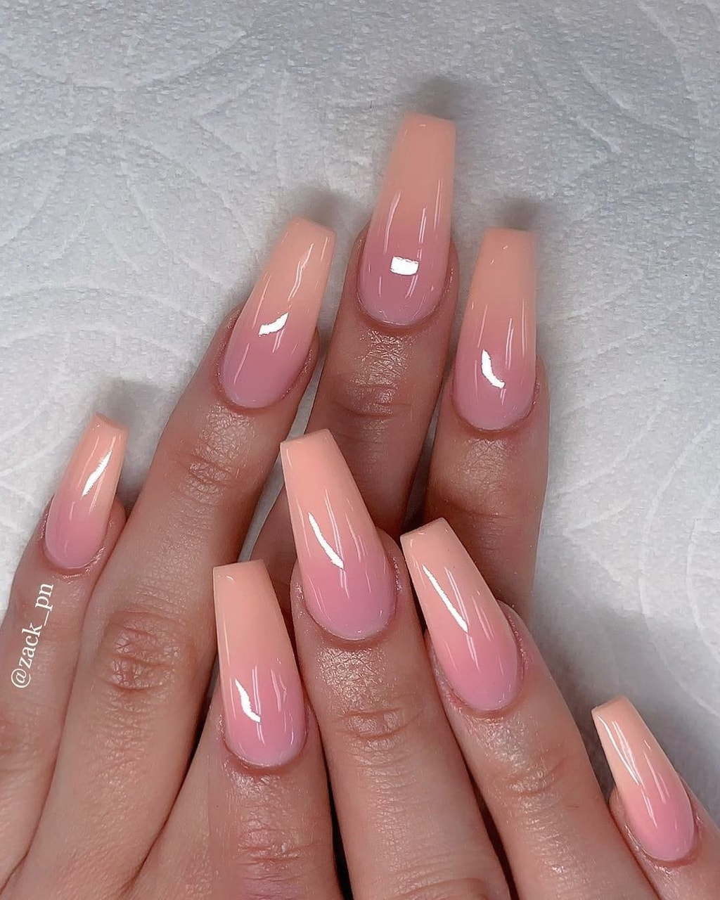 nails, ombre, peach and pink