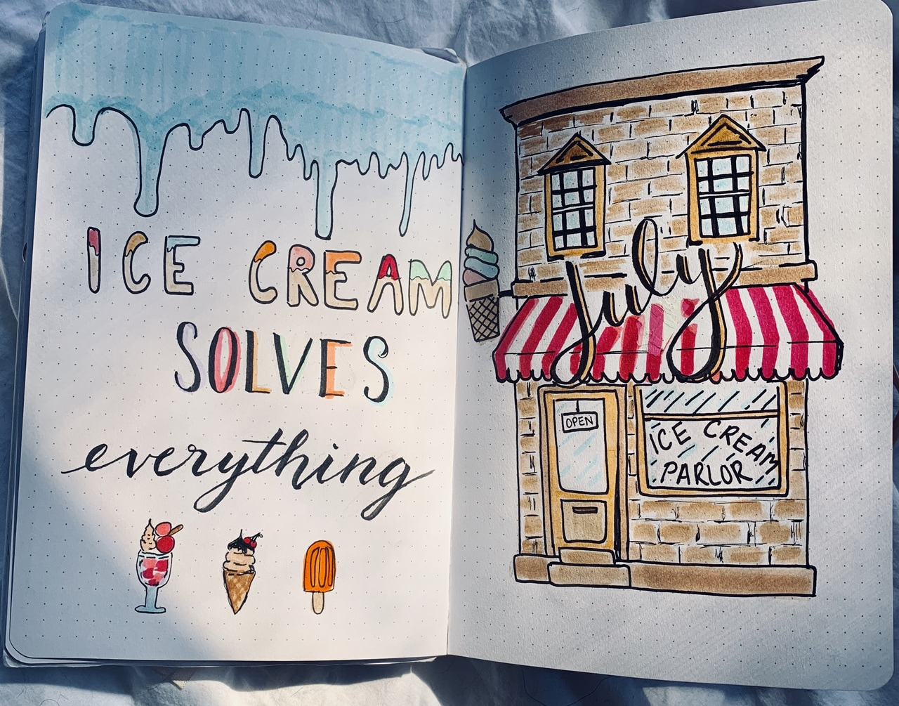 ice cream, bujo ideas, cover and sweets