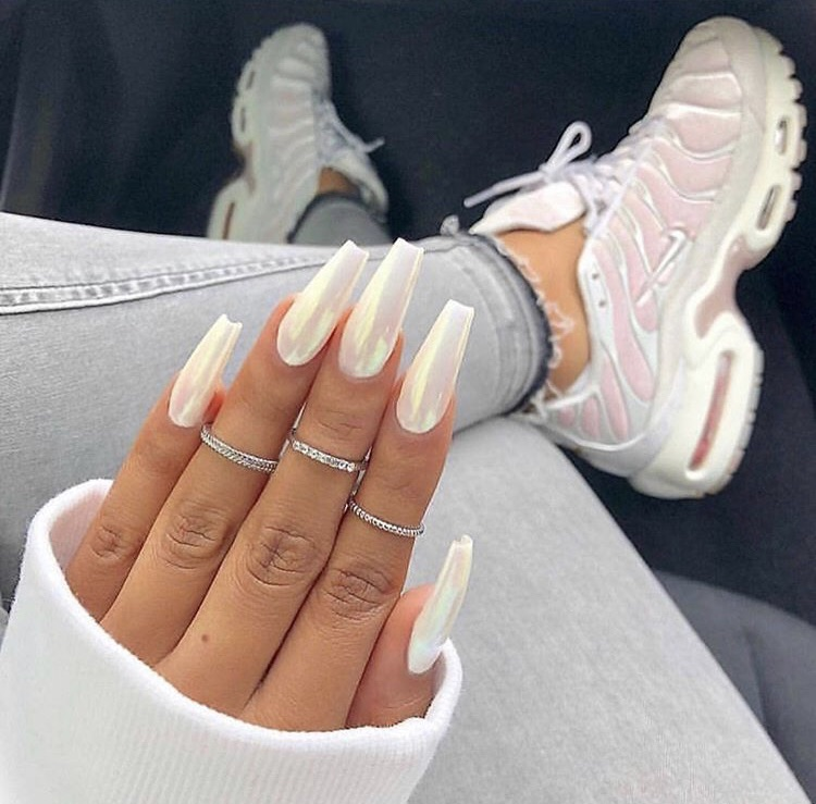 angelic, rings, white and coffin nails