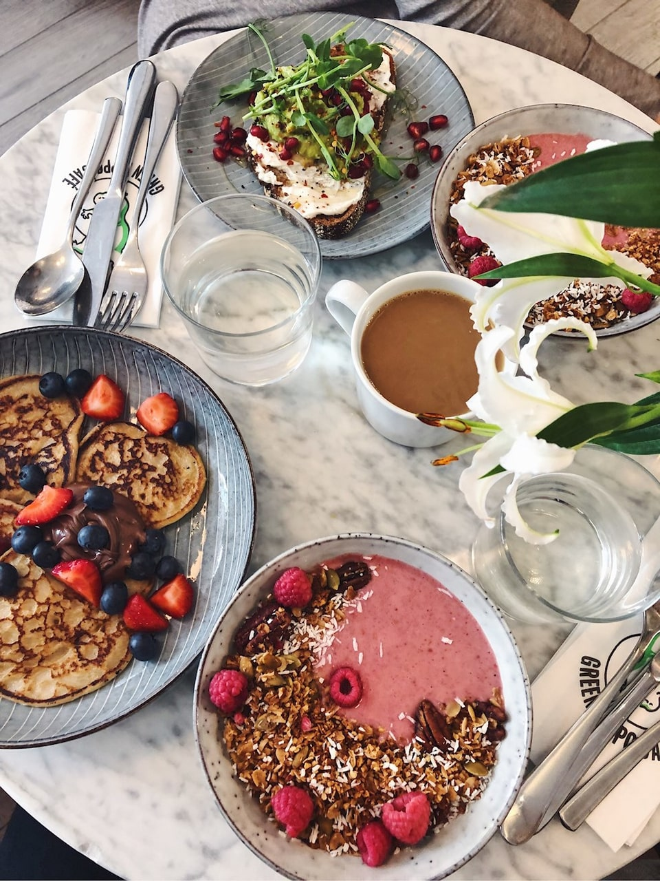 coffee, brunch, healthy food and pancakes