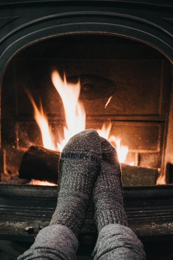 socks, cozy, fireplace and wood