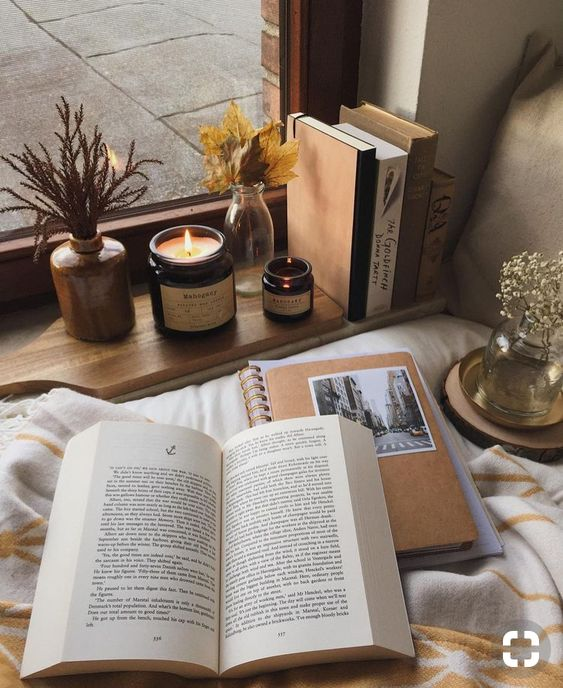 photo, candle, autumn and book