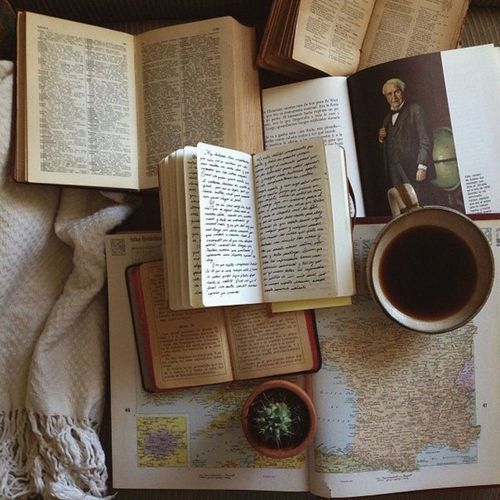old books, rustic, map and cactus