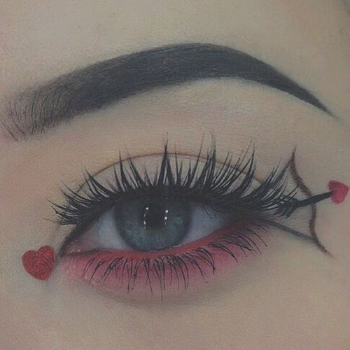 makeup, pink, heart and bow and heart