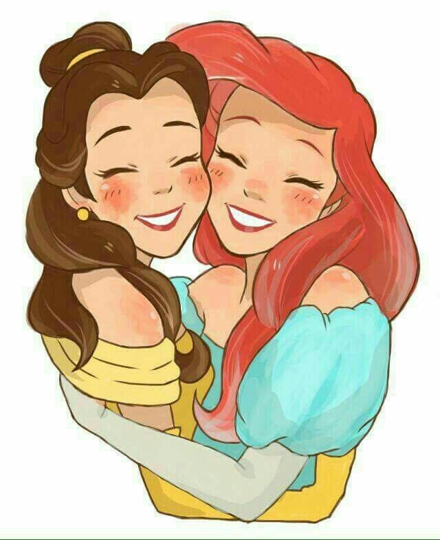 the little mermaid, beauty and the beast, cute and disney