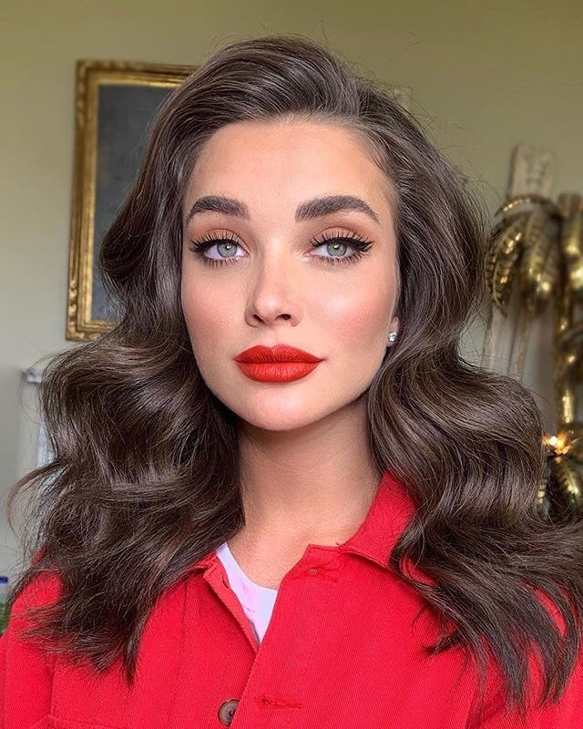 hair, popular, red lipstick and makeup