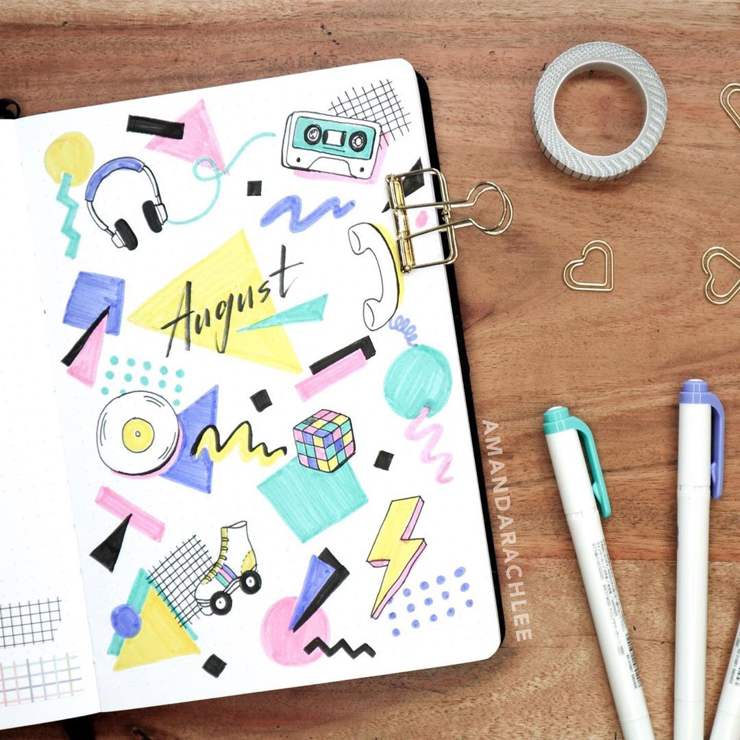bullet journal, August, 2019 and cool