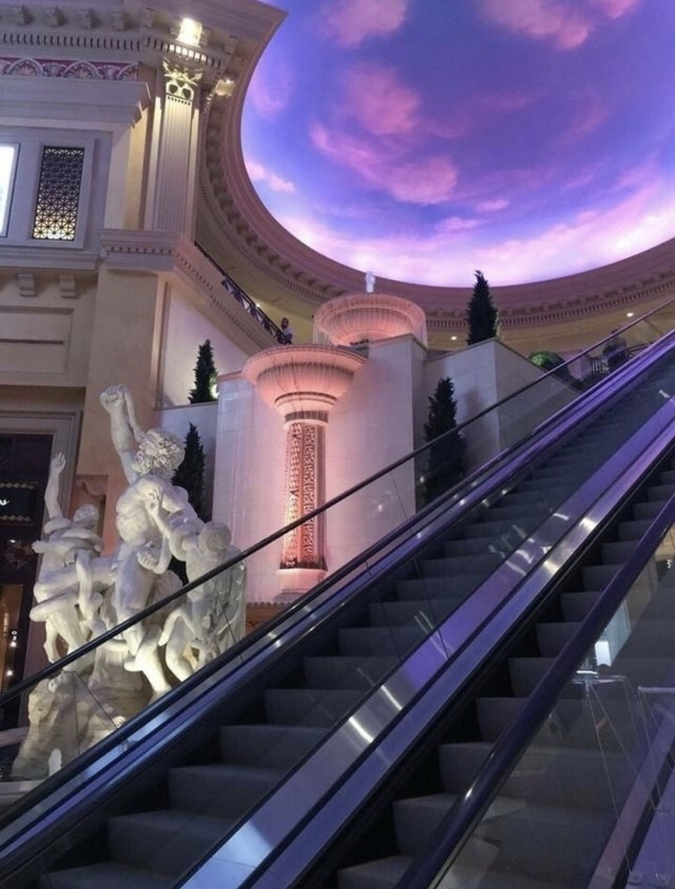 vaporwave, escalator, architecture and statue