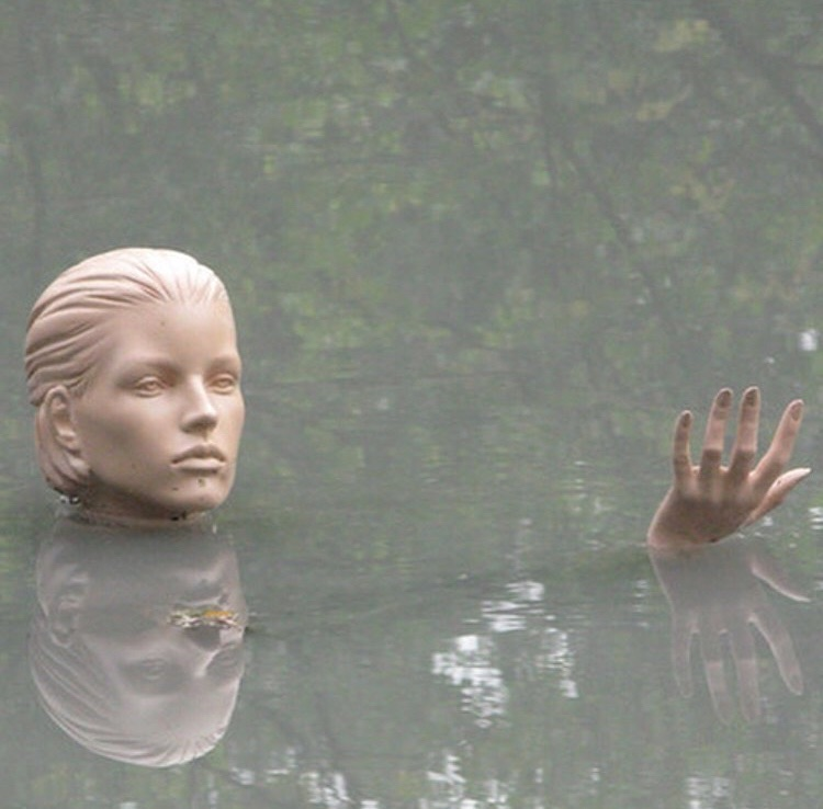 statue, lake, pale and fog