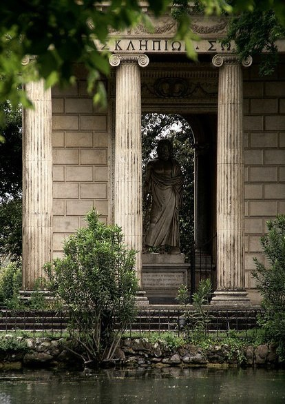 Temple, Greece, ionic columns and brick