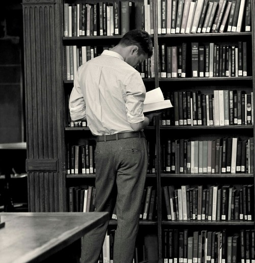 library, books, old photograph and studying