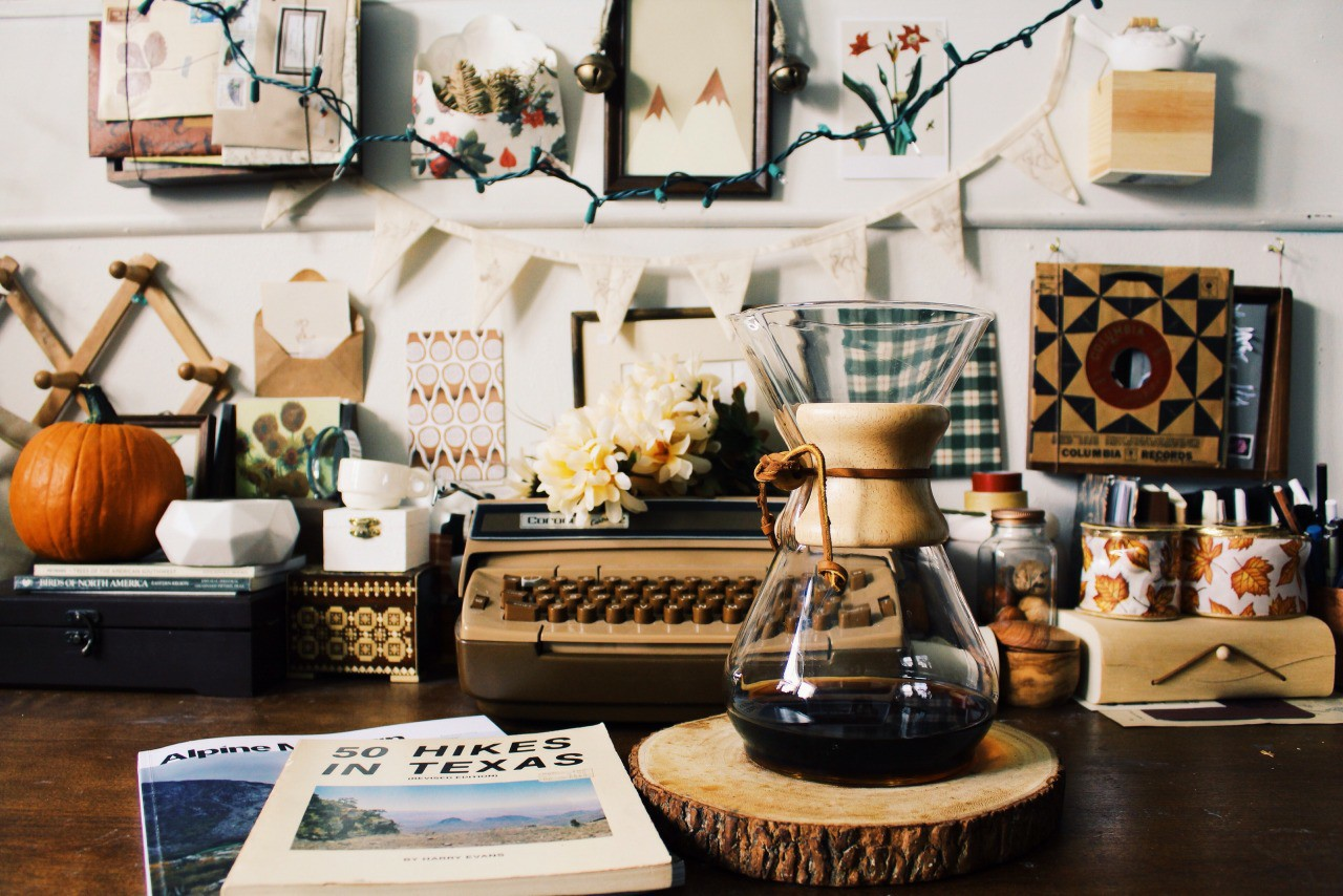 cafe, office, aesthetic and vintage