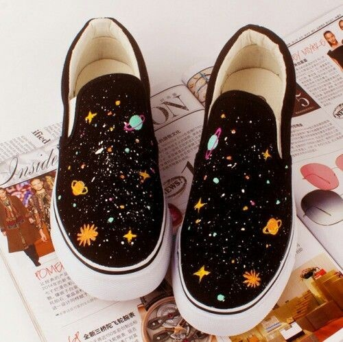 shoes, black, galaxy and art