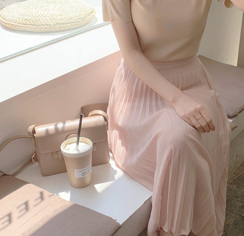 pink, perfect, dress and coffee